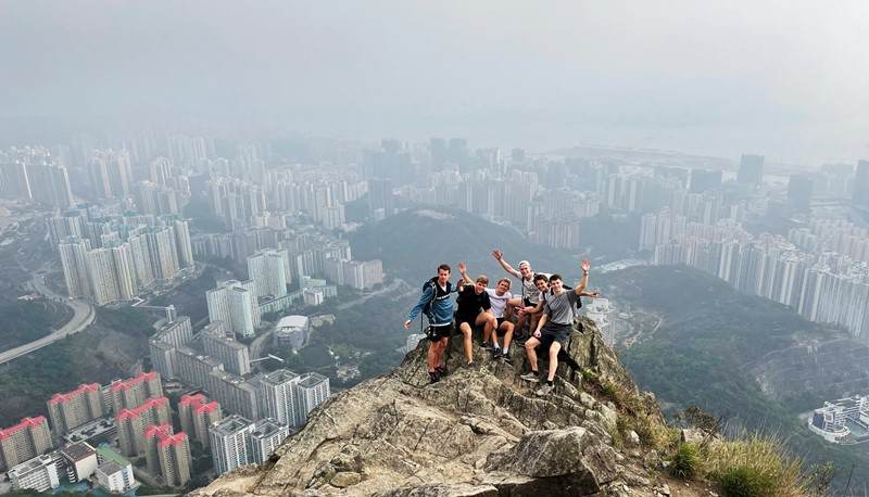 Exchange students conquering the Suicide Cliff.