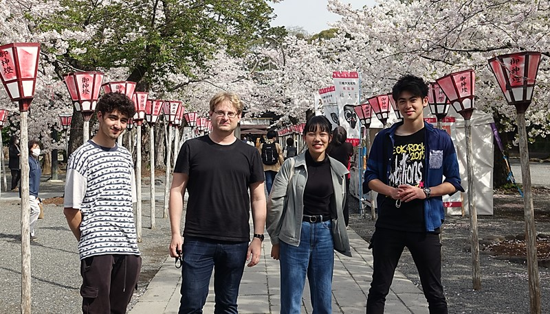 Enjoying a cherry blossom tour with fellow exchange students.
