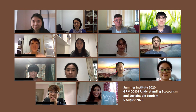 High school students take the sustainable tourism class online.