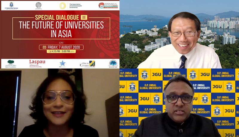 Prof. Rocky S. Tuan shares his vision on the future of Asian universities in a virtual conference hosted by O.P. Jindal Global University.
