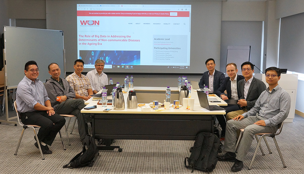 Meeting of the project team. From left: Dr. Jonathan Penm, Prof. Mark Latt and Prof. Simon Poon, USyd; Dr Owen Johnson, University of Leeds; Prof. Kelvin Tsoi and Prof. Allen Lee, CUHK; Dr. Nicholas Fuggle, University of Southampton; and Dr. Zhiyao Duan, University of Rochester.